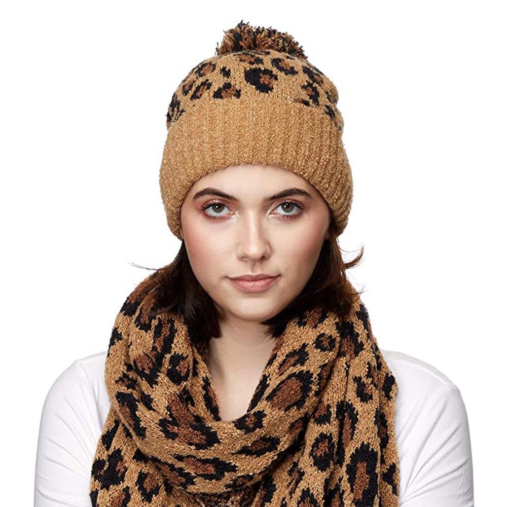 Sombreros de leopardo de invierno 2020 para mujer, tejidos a ganchillo, abrigados, abrigados, para niñas, sombrero Sexy, gorro para mujer, gorro informal para mujer