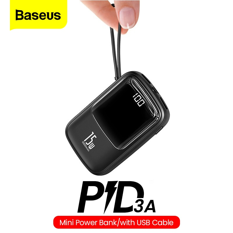 Baseus-شاحن بطارية خارجي صغير 10000 مللي أمبير ، شاحن محمول صغير 10000 ، USB C PD ، لهاتف iPhone 11 Xiaomi Mi Samsung