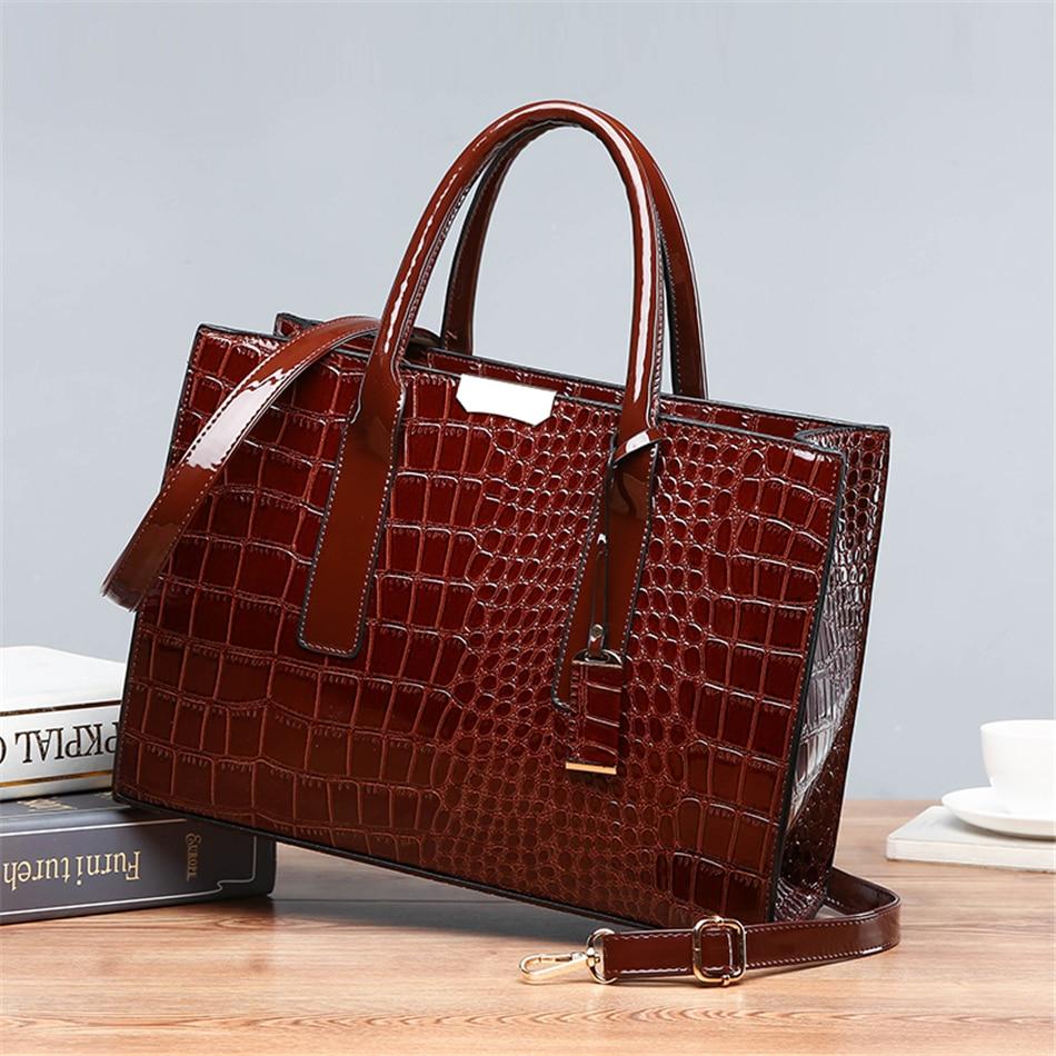 Pantent Leather Women Messenger Bags Crocodile Female Crossbody Shoulder Hand bags For Women 2021 High Quality Ladies Handbags