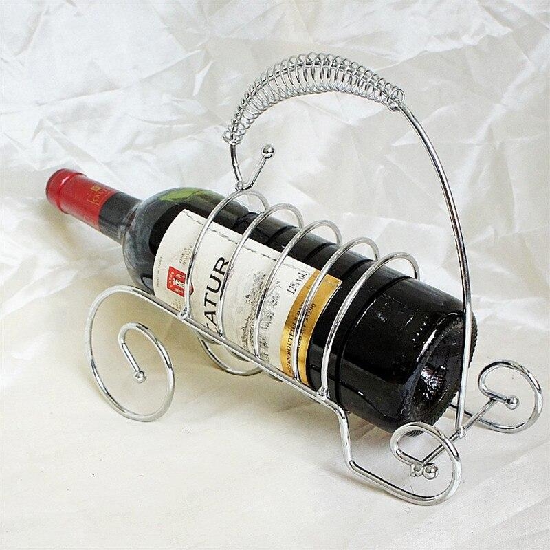 Soporte de mesa de Metal plateado para botellas de vino soporte de vino tinto de diseño moderno para barras de hogar Decoración de Hotel estante de vino de Whisky de alta calidad