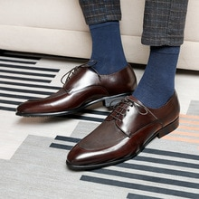 New Business Fashion Dress Genuine Leather Shoes Men's Lace Up Shoes Cowhide Inner Lining Men's Shoe