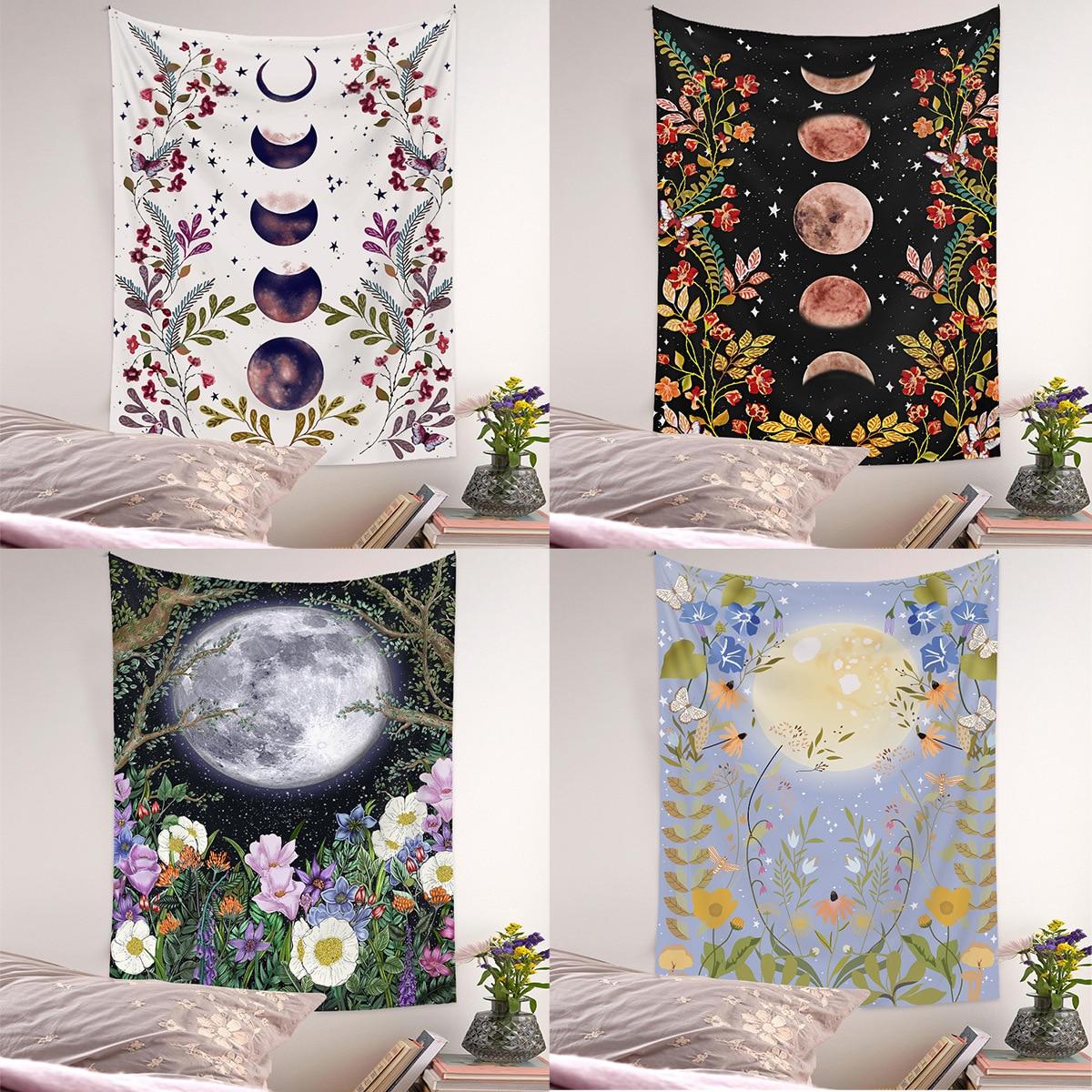 Гобелен с Лунной фазой, настенный цветок, таблица для справки, настенная ткань, богемные гобелены, красочные психоделические INS, домашний де...