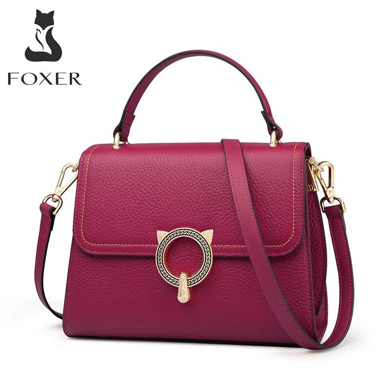 FOXER-حقيبة يد نسائية من الجلد الطبيعي الناعم ، حقيبة كتف ، حقيبة يد كلاسيكية صغيرة ، 2020