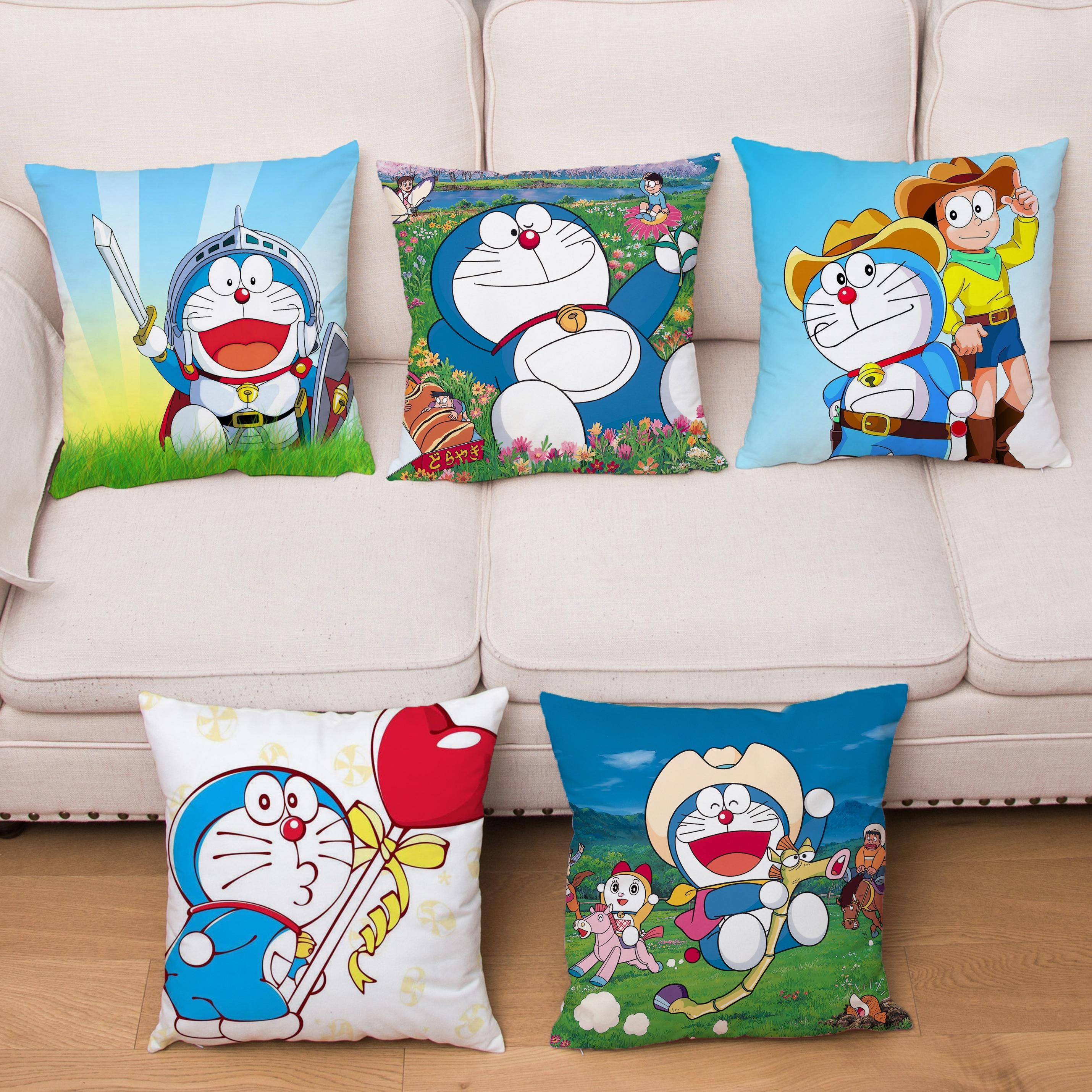 Japón animé Doraemon cojín de dibujos animados lindo gato Robot funda de cojín estampada de peluche corto funda de almohada almohadas para decoración de hogar cubre