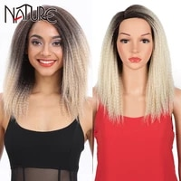 nature kinky straight wig synthetic hair wigs for black women african fluffy curly hair ombre pink blonde glueless wig cosplay