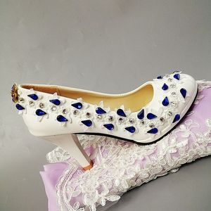 9CM high heels royal blue crystal rhinestones bridal wedding party pumps shoes women luxury hadmade lace dinner shoes for woman