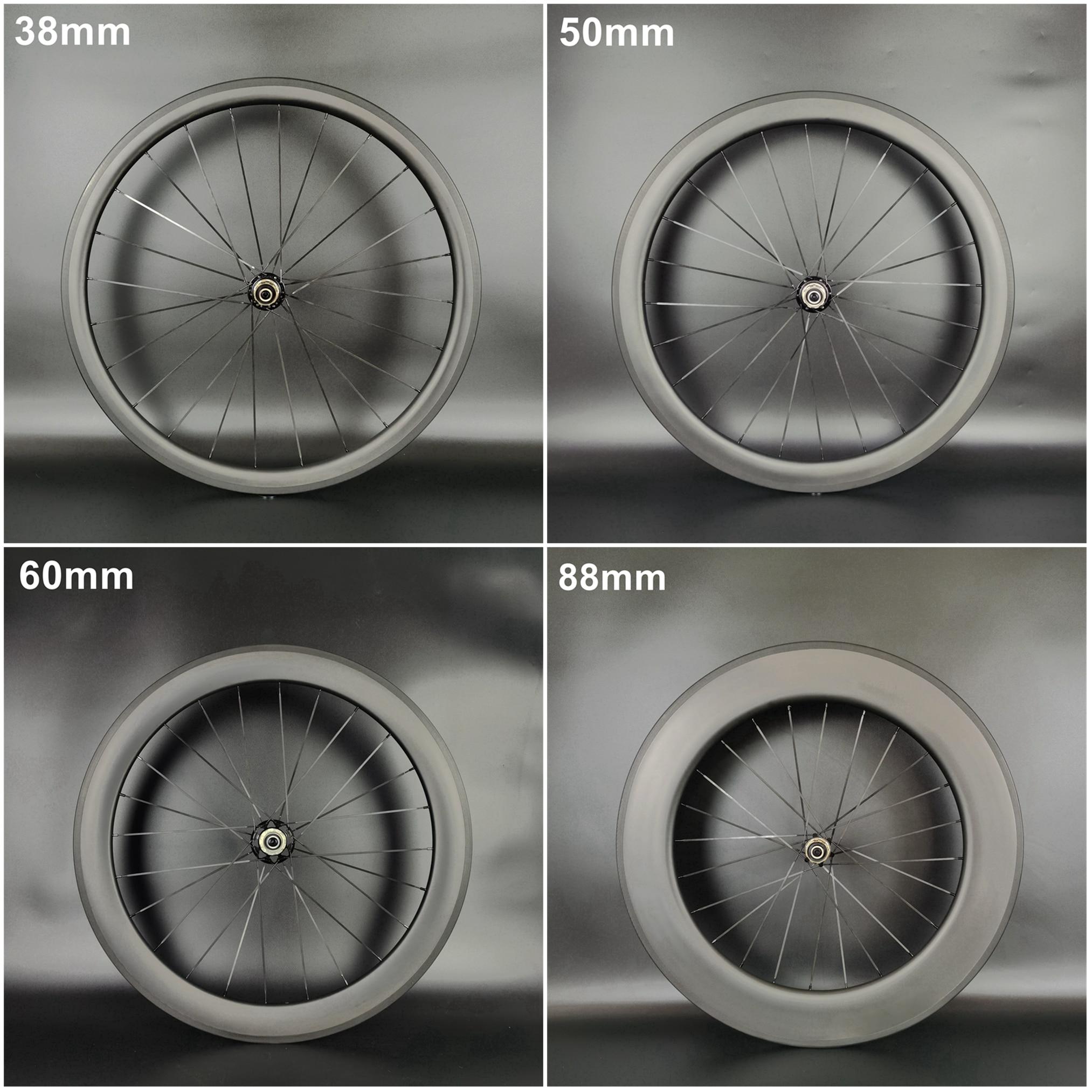 العجلات الخلفية 700C الكربون 38/50/60/88 مللي متر عمق 23/25 مللي متر عرض الفاصلة/لايحتاج/أنبوبي الطريق دراجة الكربون العجلات الخلفية مع UD ماتي