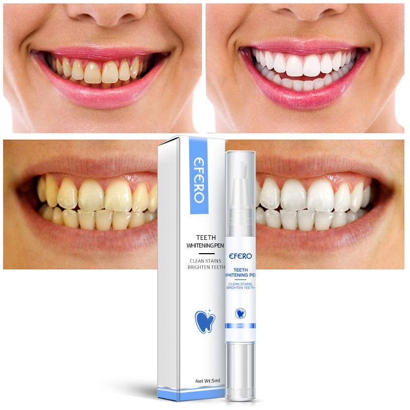 EFERO White Teeth Whitening Pen Tooth Gel Remove Tea Coffee Smoke Stains Dental Tool Fresh Oral Air Serum Dental Hygiene Pen 5ml