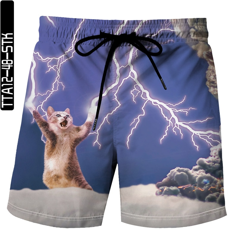 Summer 2021 latest cute cat funny 3D printing Bermuda beach sports shorts unisex sports casual shorts XL S-6XL