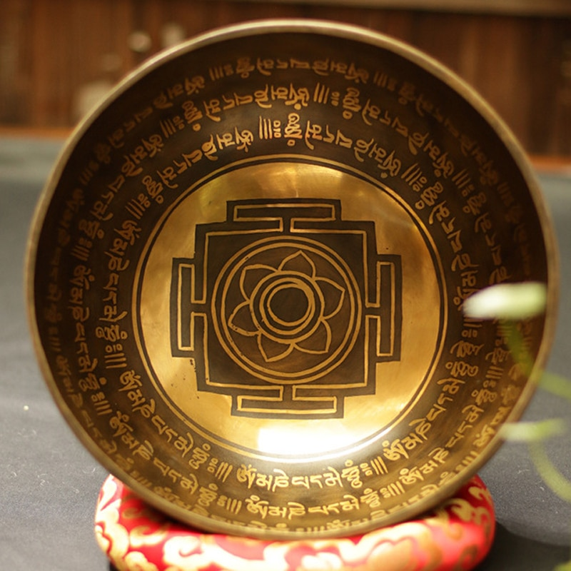Nuevo nepalí tibetano cantar tazón del Himalaya budista Yoga bol de canto de meditación Fengshui de gran tamaño hecho a mano hogar Decoración