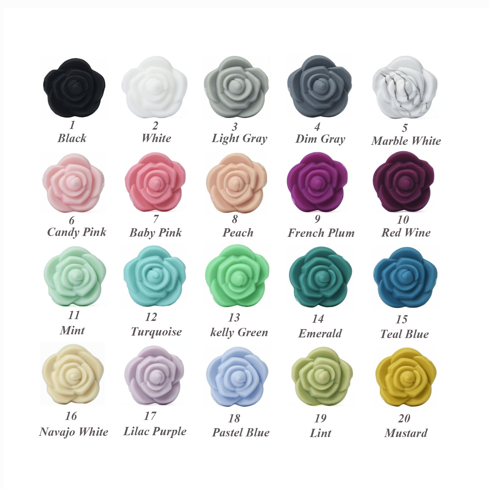 100/200 PCS Double Face Silicone Flower Beads Rose Teething Charm Teether Baby Chewing HOT Sale Neck