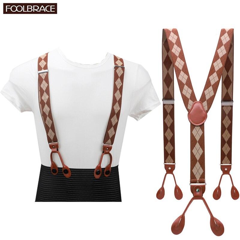 Unisex Vintage tirantes hombres Tirantes ajustables 6 botones suspensor elástico en forma de Y Pantalones de cuero marrón PU
