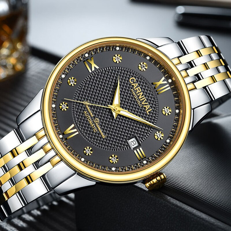CARNIVAL Fashion Casual Men's Watch Automatic Mechanical Classic Sainless Steel Strap Waterproof Luminous Calendar Watches Men enlarge