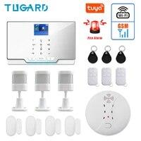 Kit systeme dalarme de securite domestique sans fil  wi-fi  GSM  433Mhz  anti-cambriolage  ignifuge  avec detecteur de fumee et dincendie domestique  nouveaute