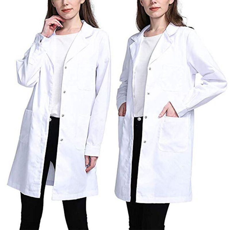 Womens único breasted laboratório casaco médico blusa estudante enfermeira científica cosplay entalhado lapela colarinho jaqueta com bolsos