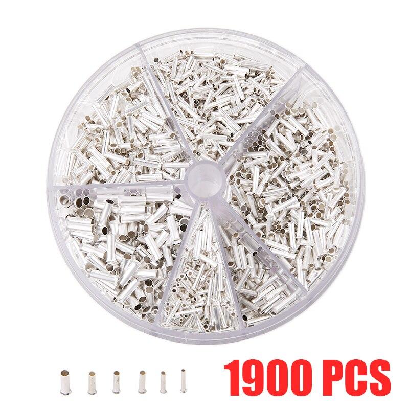 1900 unids/caja Ferrules de metal portátiles sin aislamiento 0,5 mm2-2,5 mm2 casquillos de terminales prensados en frío Kit surtido