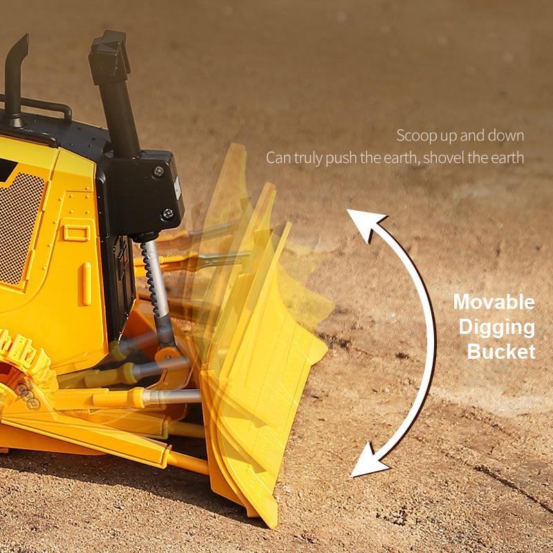 HUINA 25002 2.4G 1:24 RC Truck Heavy Bulldozer Caterpillar  Tractor Model Engineering Car Excavator Radio Controlled Toys Boys enlarge