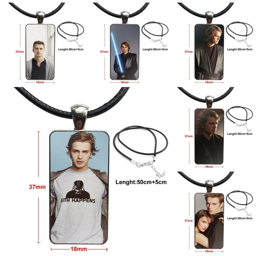 Hayden Christensen estrella para regalo Unisex de cristal gargantilla de cabujón colgante collar con dije de rectángulo de acero inoxidable joyería de Color