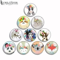 10mm 12mm 16mm 20mm 25mm 30mm 542 animal flower mix round glass cabochon jewelry finding 18mm snap button charm bracelet