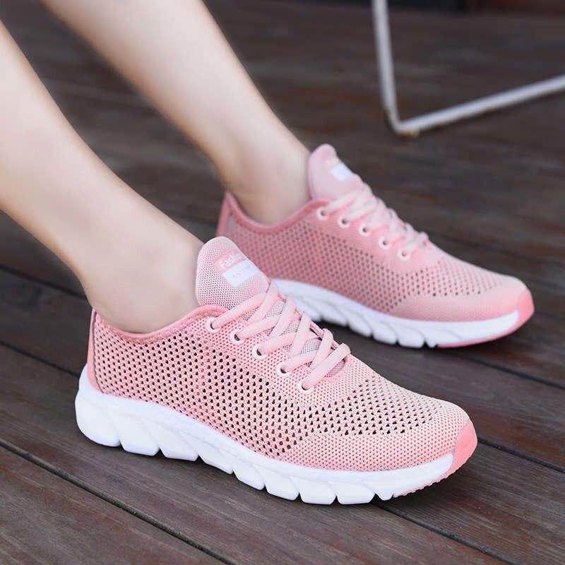 Flying tecido respirável tênis de corrida das senhoras sapatos esportivos tênis andando malha 2021 verão novo estilo