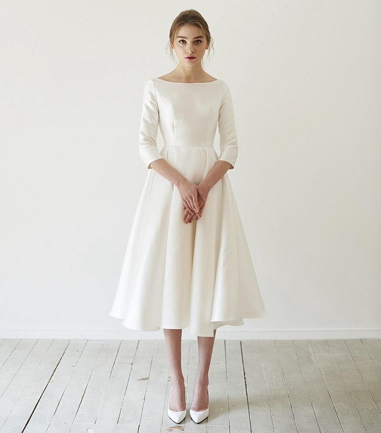 Nuevos vestidos de novia simples 2020 Satén de longitud de té manga...