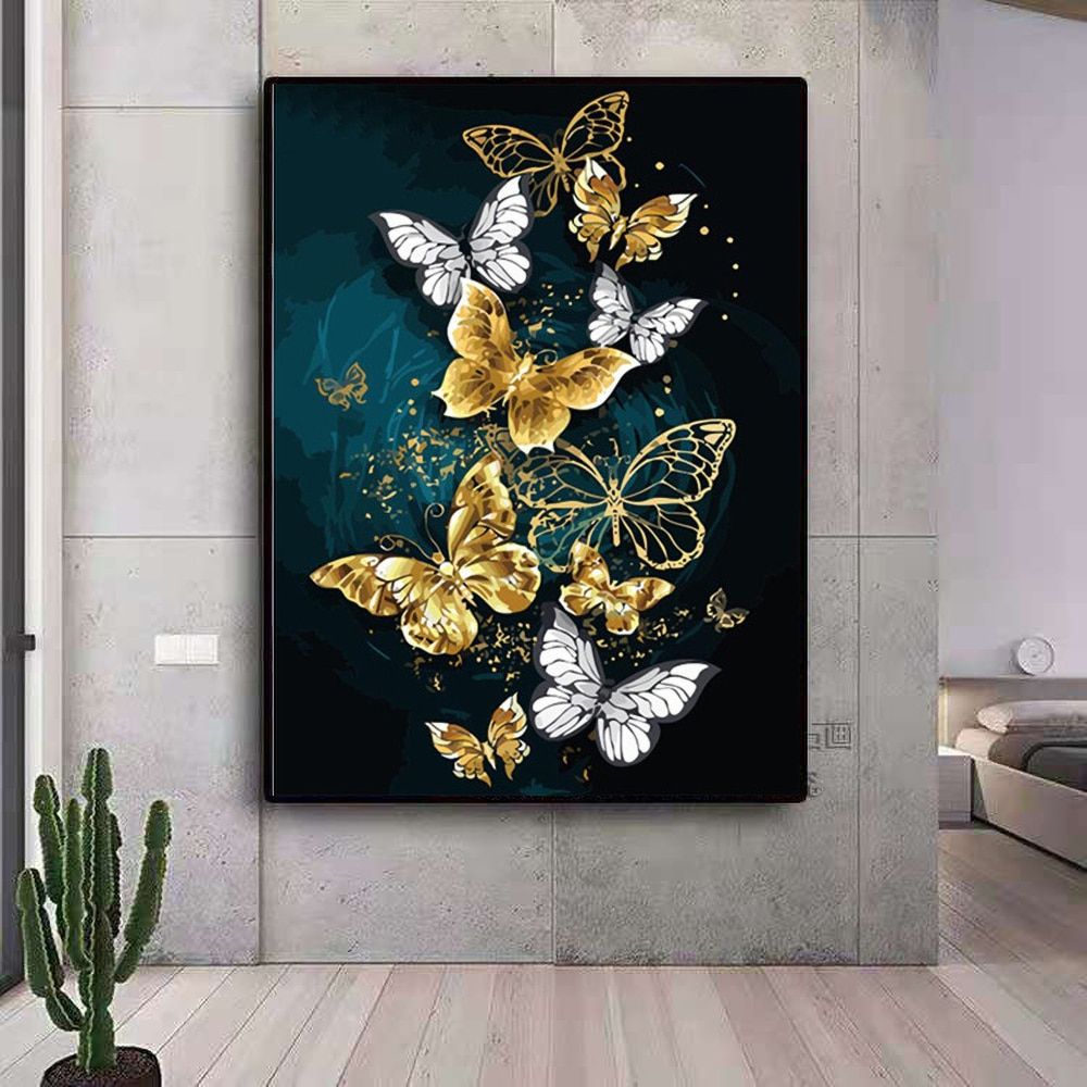 30x40CM  5D DIY Diamond Painting Butterfly Art Full Drill kits for Home Round Resin Decor