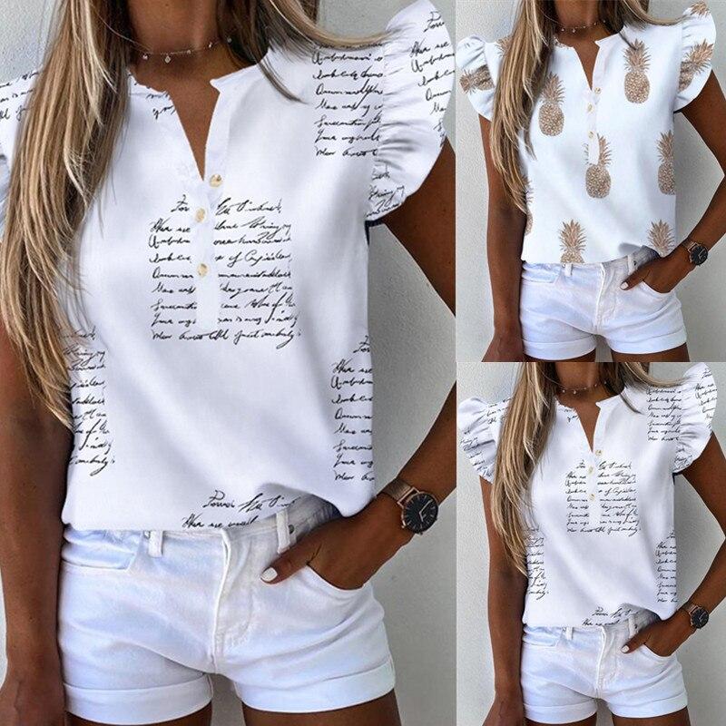 Camisetas sin mangas con volantes para mujer, camisetas de Camisa estampada diario para mujer, camisetas harajuku para mujer, camisetas de chica, ropa de mujer 2020