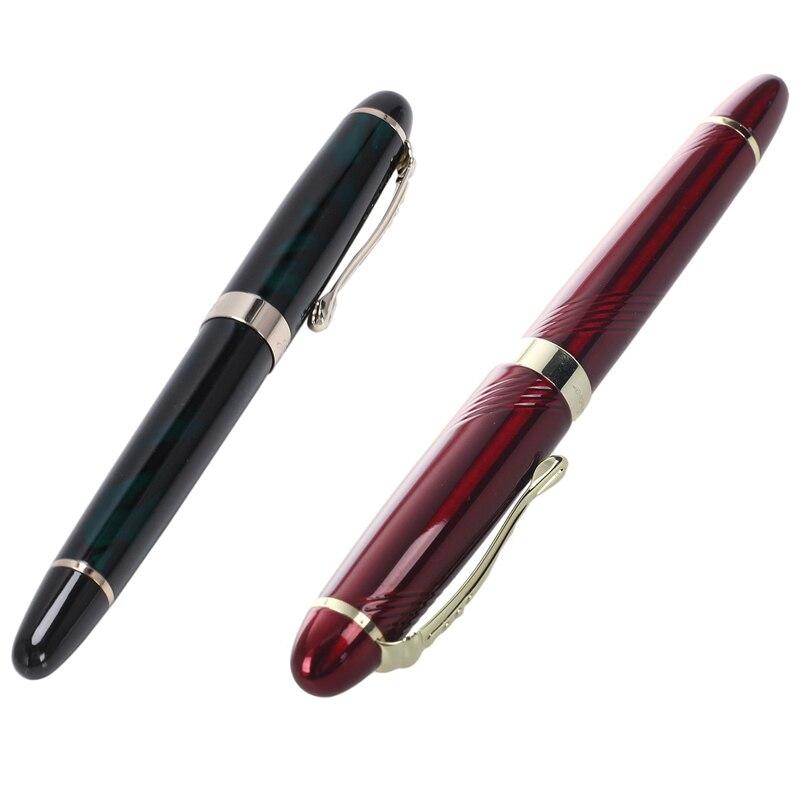 Pluma estilográfica caliente Jinhao lujo M Nib 18KGP (Darkgreen) y JINHAO X450 18 KGP 0,7mm pluma estilográfica amplia roja