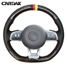 WCaRFun Carbon fiber Black Suede Car Steering Wheel Cover for Volkswagen Golf 7 GTI Golf R MK7 Polo Scirocco 2015 2016 2017