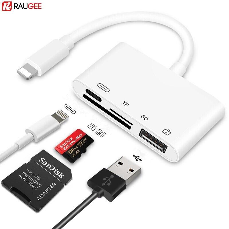 Устройство для чтения sd-карт для iPad Lightning/USB для женской камеры с клавиатурой Micro SD OTG адаптер устройство для чтения sd-карт для Apple iPhone iOS