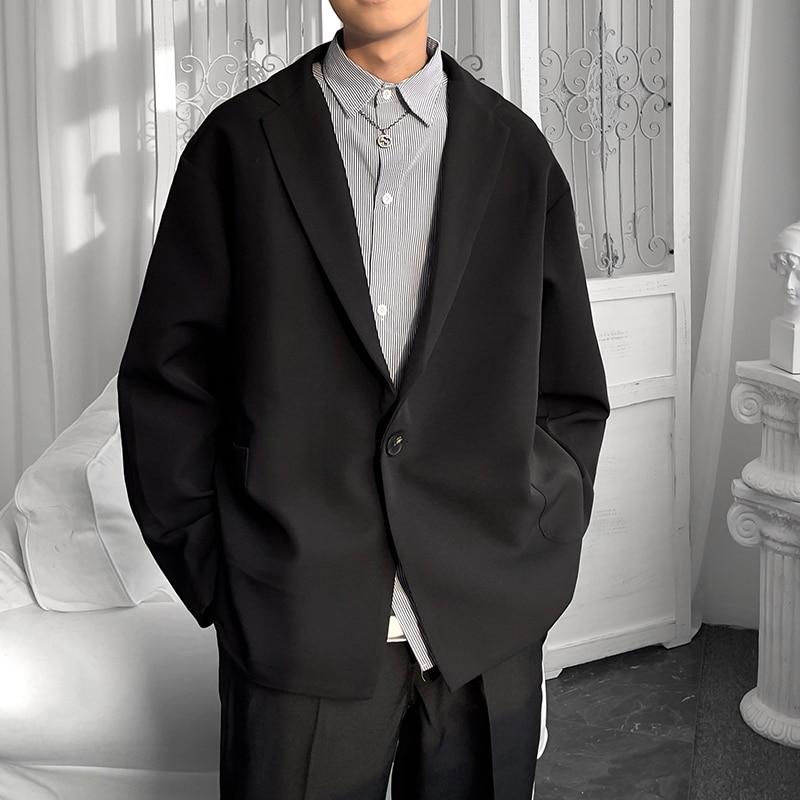 Новинка 2021, роскошные классические черные, синие, хаки, мужские повседневные блейзеры в японском стиле, модные брендовые свободные куртки н...