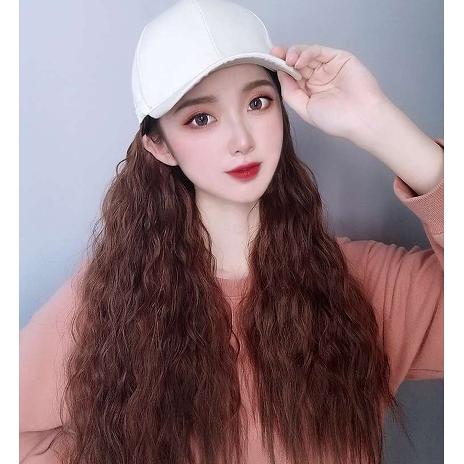 Hat wig With Synthetic wig Hair Extensions Hat With Hair Cap With Hair Long Wave deep weave human hair wig hat wig for woman