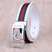 mens belt white cowhide unisex fabric belt casual fashion smooth buckle golf belt decoration pants waistband cinturon mujer