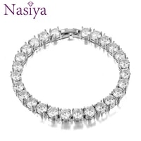 925 sterling silver womens wedding jewelry bracelets 6mm charm zircon crystal bracelet bangle for female party engagement gifts