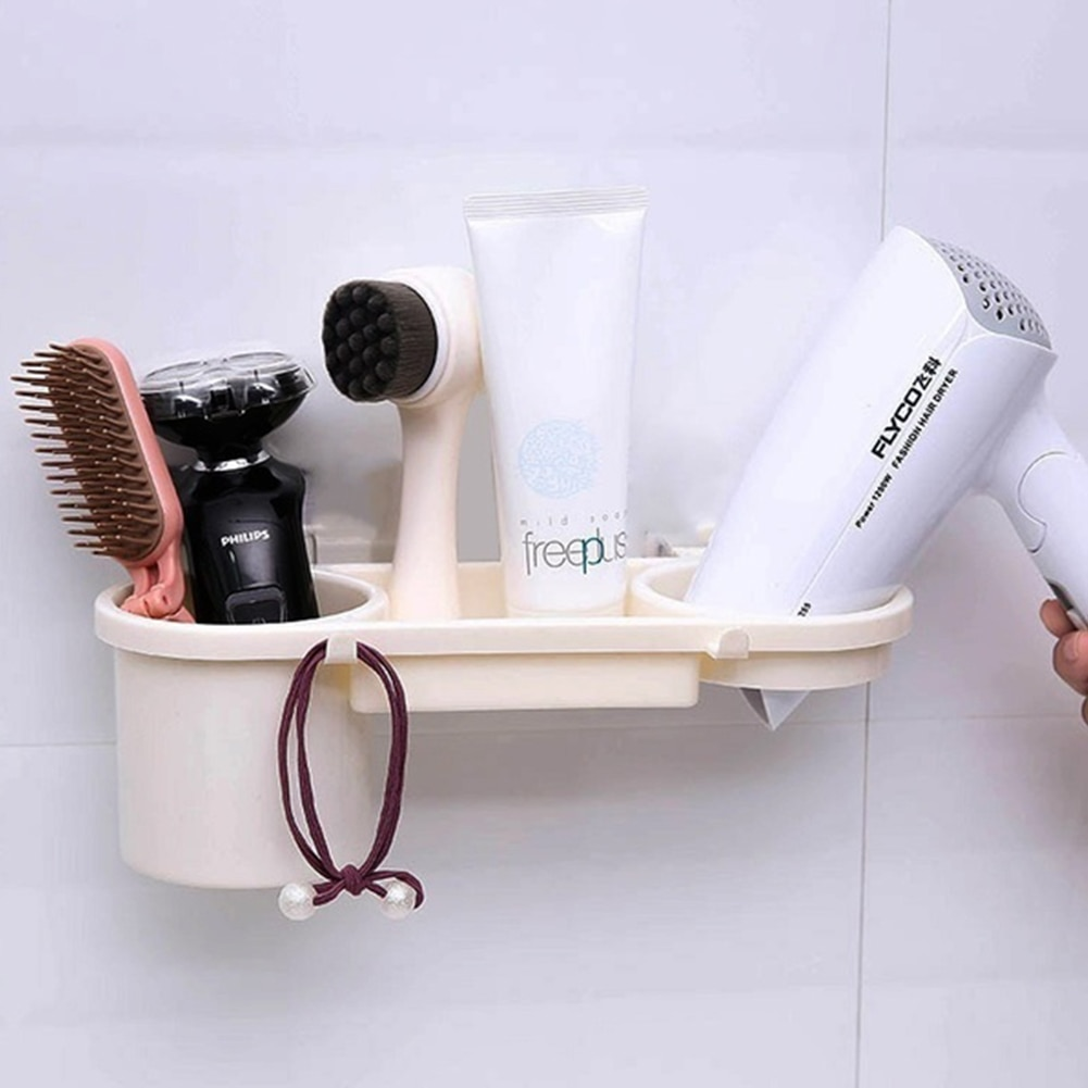 Adhesive Hair Dryer Holder ABS Wall Bracket Resistant Adhesive Holder Storage Stand Washroom Storage Rack