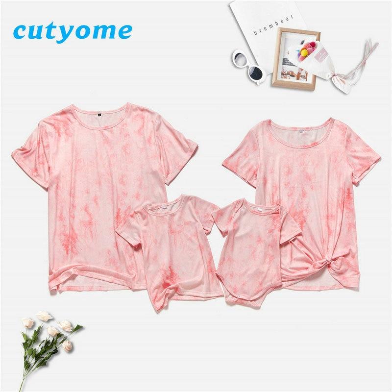 2021 Tie Dyeing Family Matching Tshirt Clothes Dad Mom Boy Girl Short Sleeve T-shirt Baby Romper Mot