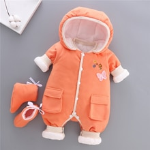BibiCola baby girls Plus velvet thicker coat infant bodysuit newborn warm romper jumpsuits for girl toddler cotton warm clothes
