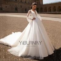 yiliber lace wedding dress satin cloth atmosphere simple v neck bridal dresses temperament long sleeve puff sleeve fluffy skirt