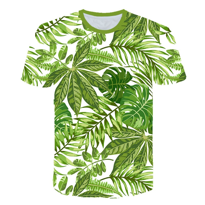 Brand 3D Flower T shirt Green Leaves Tops Weeds Shirts Fashion Clothes Clothing Tees Men 3d T shirt Mens Tee Cool Tee Streetwear