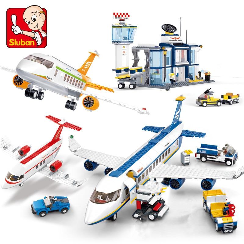 Avion Technic Cargo Plane Airport Airbus Airplane Model Building Blocks Sets Figures City Brinquedos Kids Educational Toys