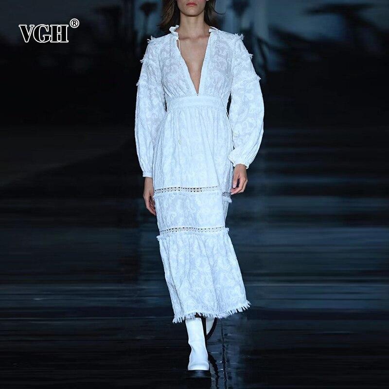 VGH مثير الأبيض الجوف خارج فستان للنساء الخامس الرقبة فانوس كم طويل عالية الخصر ماكسي فساتين الإناث 2021 الصيف ملابس عصرية
