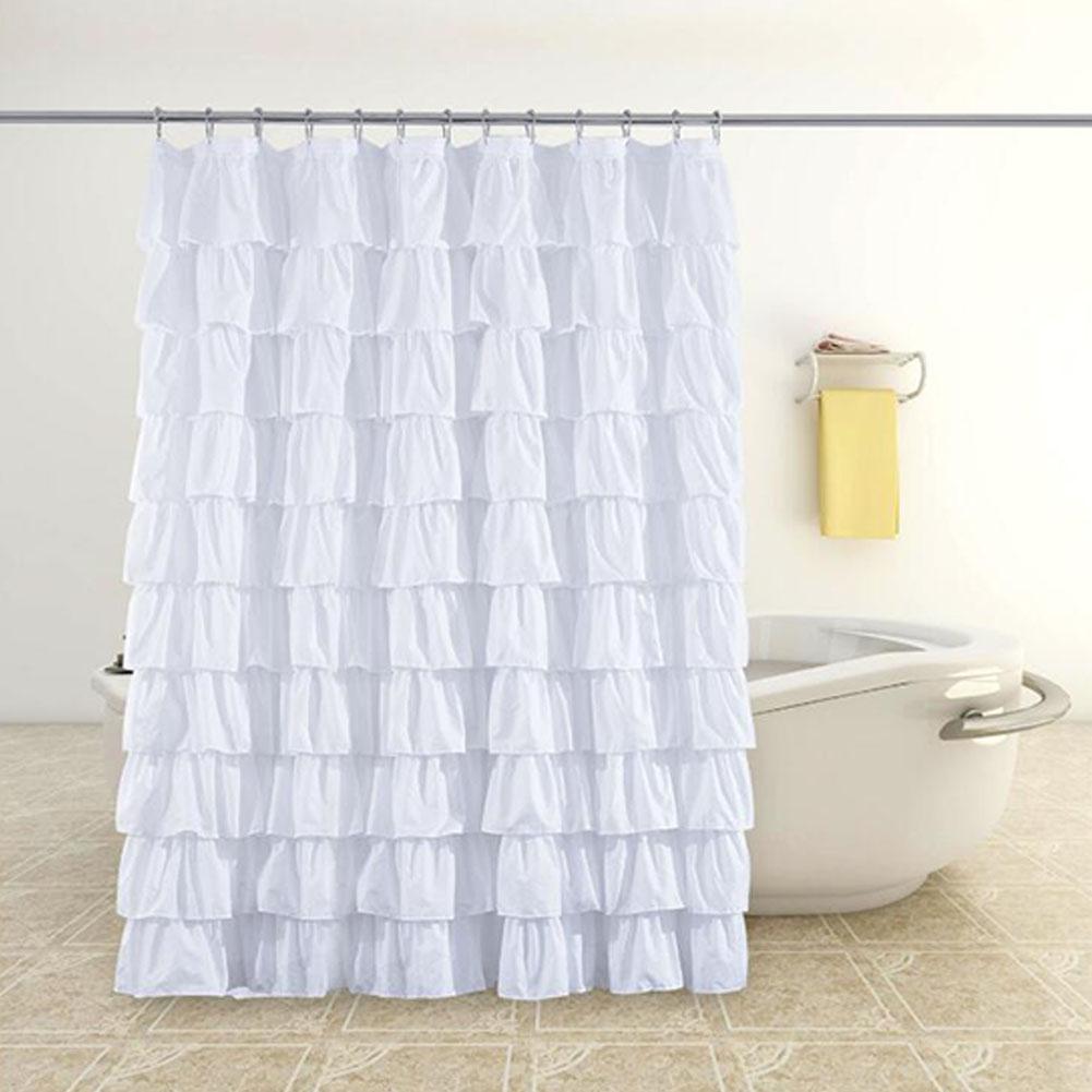 Alta qualidade pure diy branco grande laço artesanal à prova dwaterproof água cortina de banho puro feito à mão para o chuveiro do banheiro com 12 ganchos