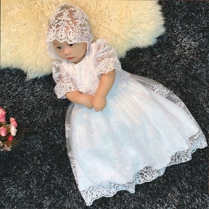 New Baby Princess Dresses Kids Lace Puff Sleeves Christening Ball Gown with Hat Toddler Girl Dresses Party Children Clothing