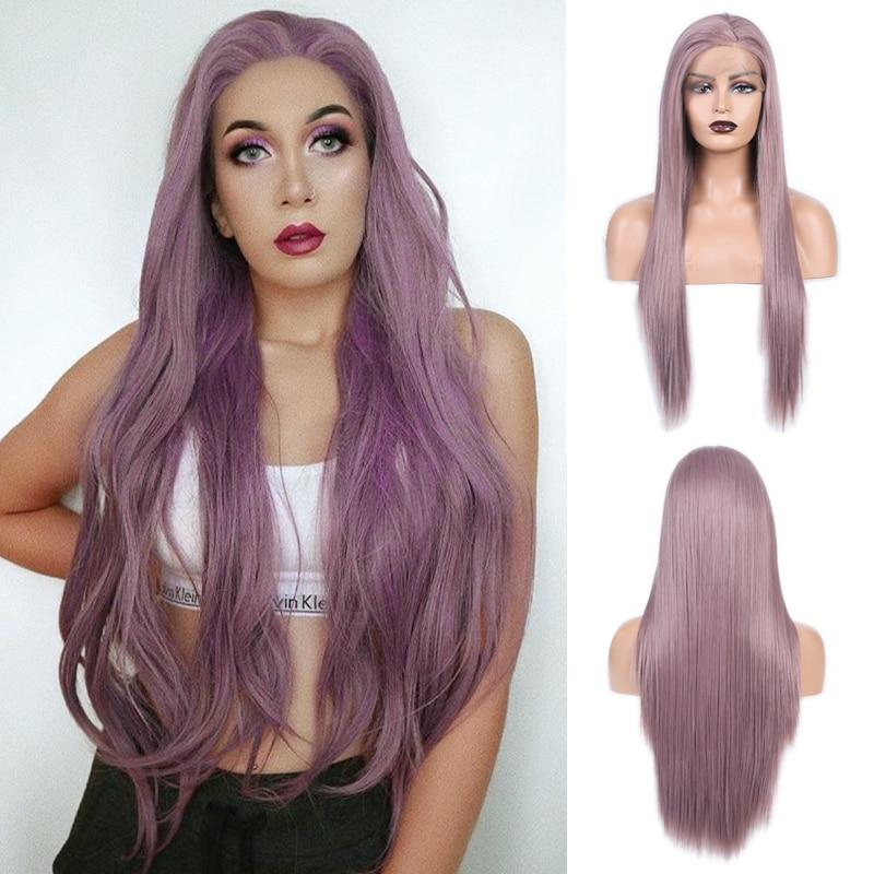 Peluca de pelo de fibra de alta temperatura RONGDUOYI, peluca de encaje sintético frontal para mujer, Peluca de ondas naturales, pelucas largas de encaje para Cosplay