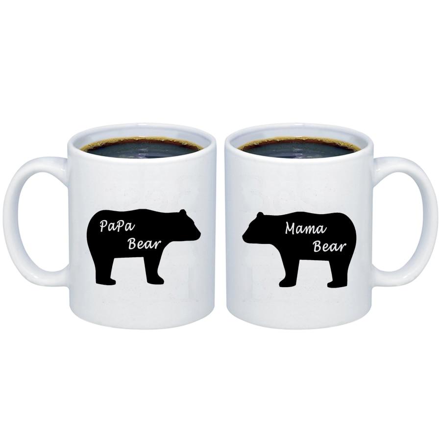 Papa Bear Mama Bear Coffee Mugs Tea Cup 11oz Father and Mother Day Gift Ceramic Mugs
