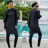 womens modest swimsuits muslim swimwear hijab swimsuit islamic short sleeve swimming sets black three piece swimsuit