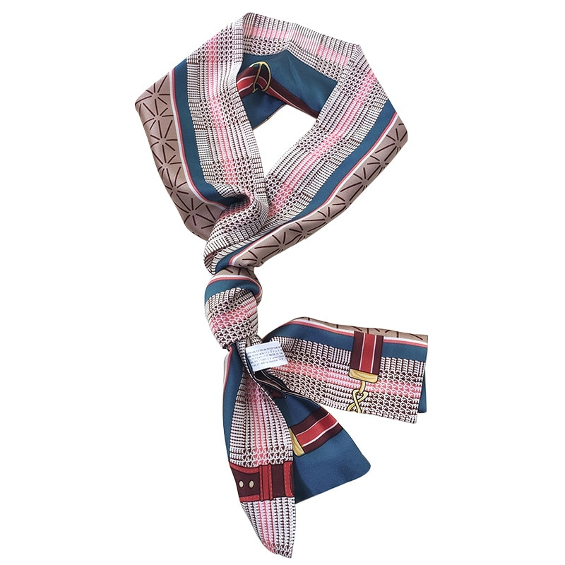 Lengthened Plaid Bag Scarves Handbag Ribbons Tie Two Layers Necktie Daisy Women Fashion Headband Long Skinny Silk Scarves france luxe oblong on long and skinny barrette itsy daisy