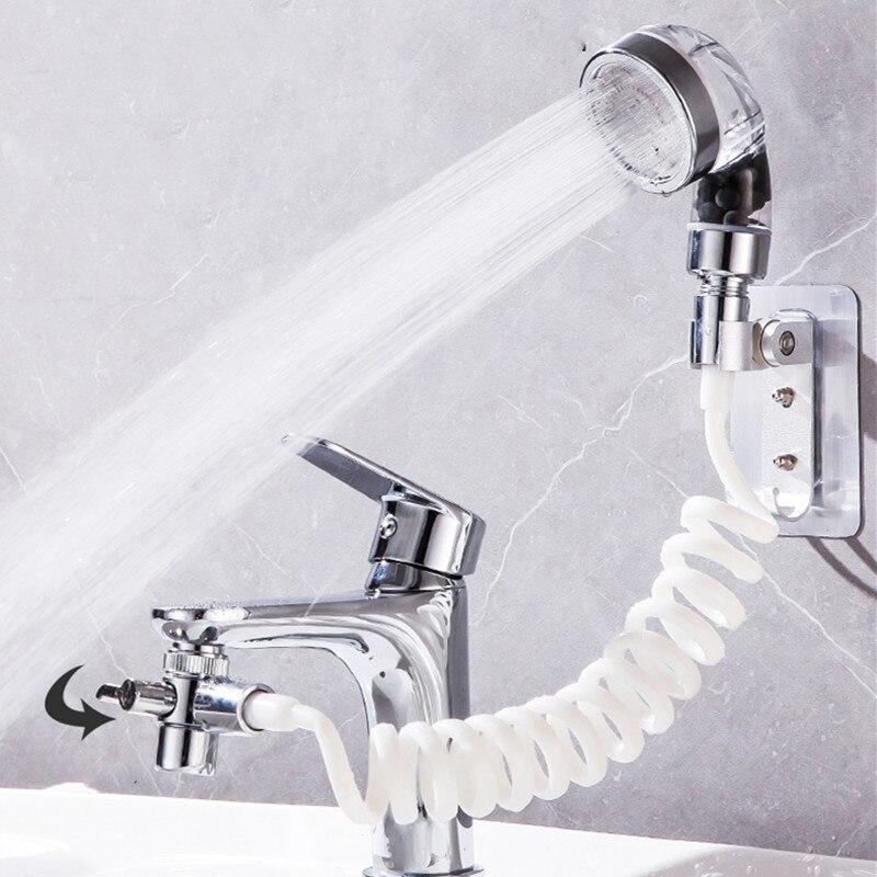 Cuarto de baño de lavado de cara de la cuenca del grifo de agua externa de la ducha baño espera filtro Flexible lavado de pelo grifo enjuagadora de extensión