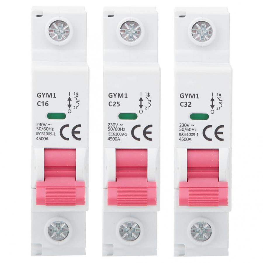 1P MCB tipo C Mini Residual circuito disyuntor IP20 6A 25A 32A AC 230/400V 50/60Hz GYM1-DZ47S