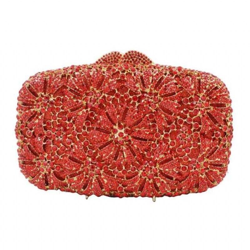 Bolsa de Embreagem de Cristal Caixa de Metal Bolsa de Noite Xiyuan Feminino Banquete Festa Luxo Clássico Quadro Corrente Bolsa Feminina Alças Dourado